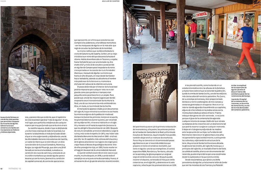 Reportaje sobre Aguilar de Campoo en el número 48 de la revista PATRIMONIO realizado por Javier Prieto Gallego