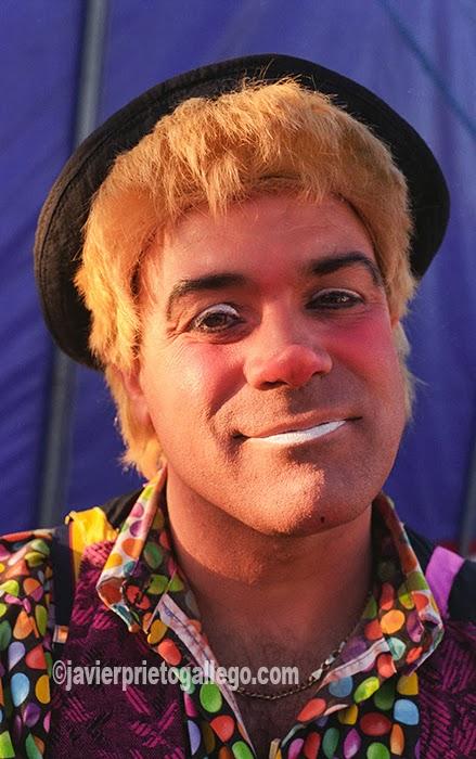 Tito Lester, un payaso portugués que lleva cuarenta años entre las cuerdas del circo. [Valladolid. Castilla y León. España.© Javier Prieto Gallego]