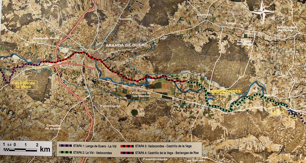 Trazado del GR-14 entre La Vid y Aranda de Duero.