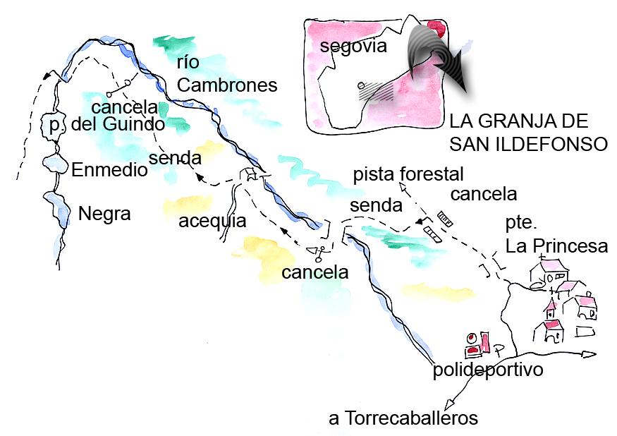 Croquis del paseo senderista hasta las calderas del curso alto del río Cambrones. Sierra de Guadarrama. Segovia.