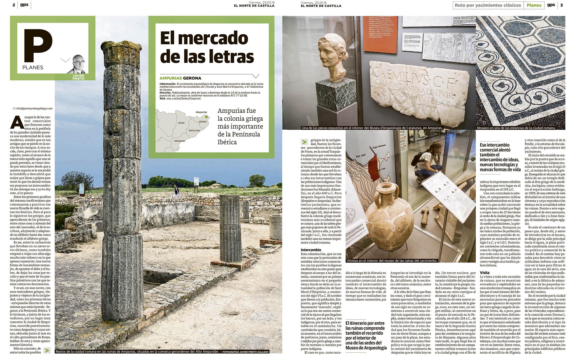 Reportaje sobre el yacimiento de Ampurias publicado en EL NORTE DE CASTILLA  por Javier Prieto Gallego.