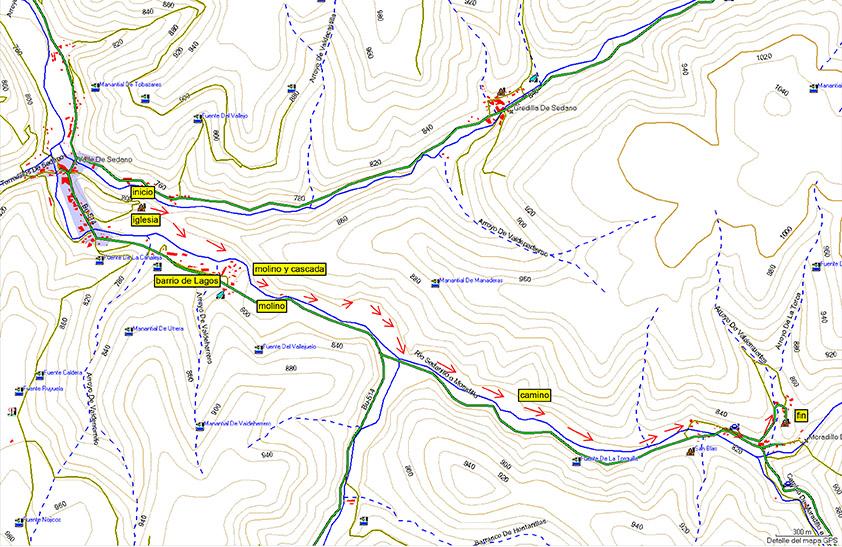 Plano del paseo entre Sedano y Moradillo de Sedano. Burgos.