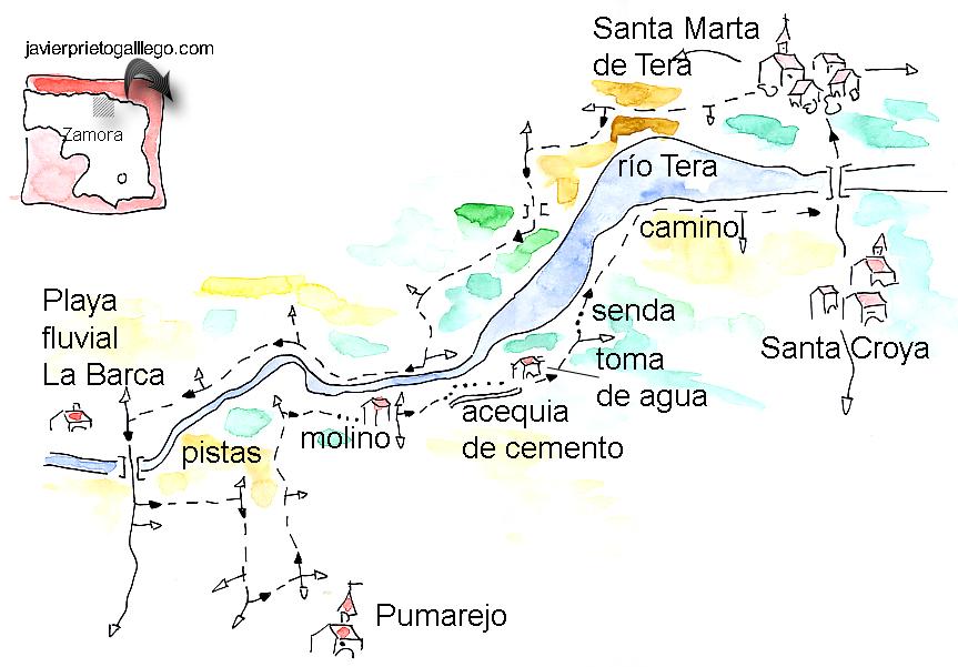 Croquis del paseo por las orillas del Tera, entre Santa Marta y Pumarejos.