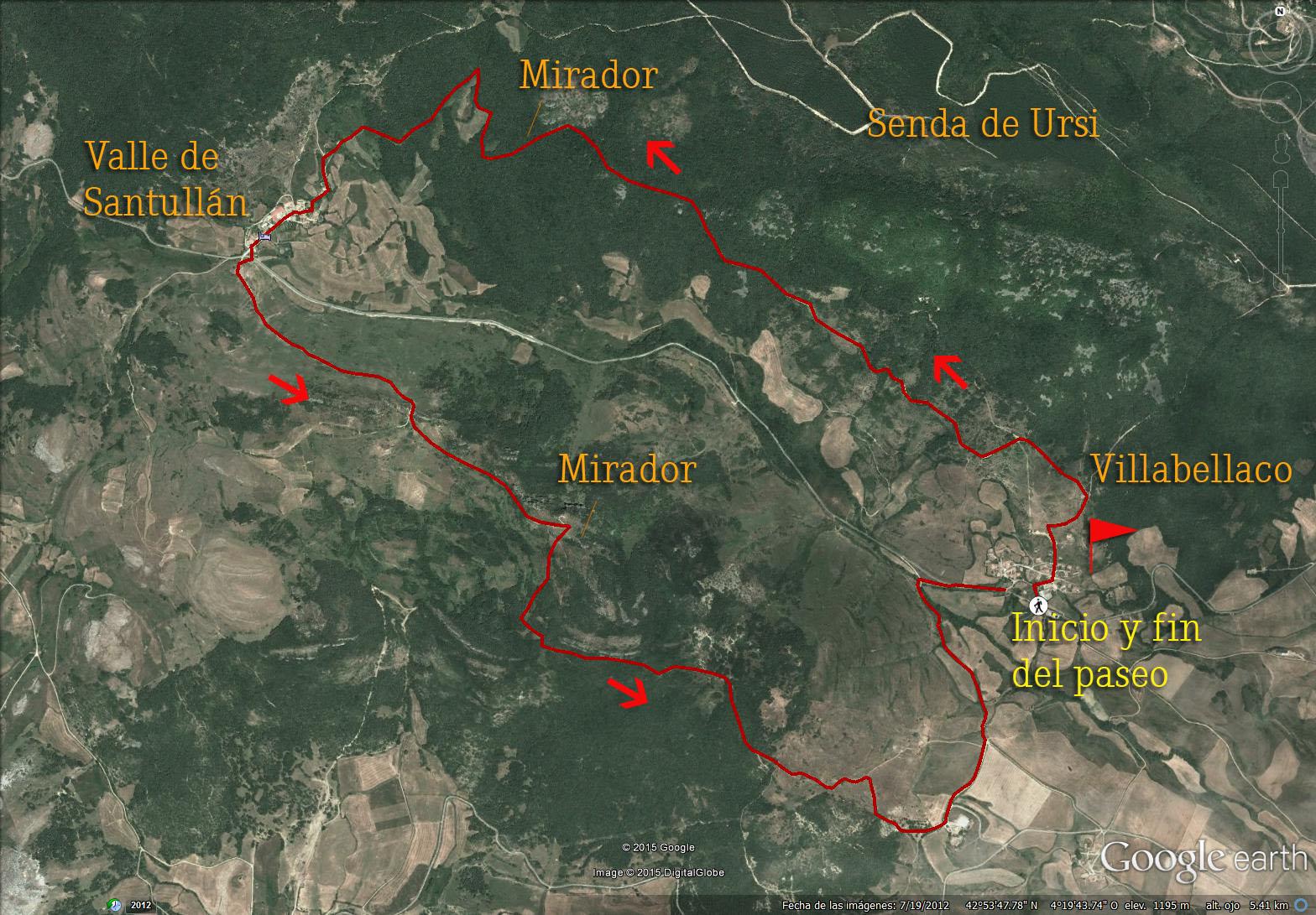 Mapa del recorrido de la Senda de Ursi.