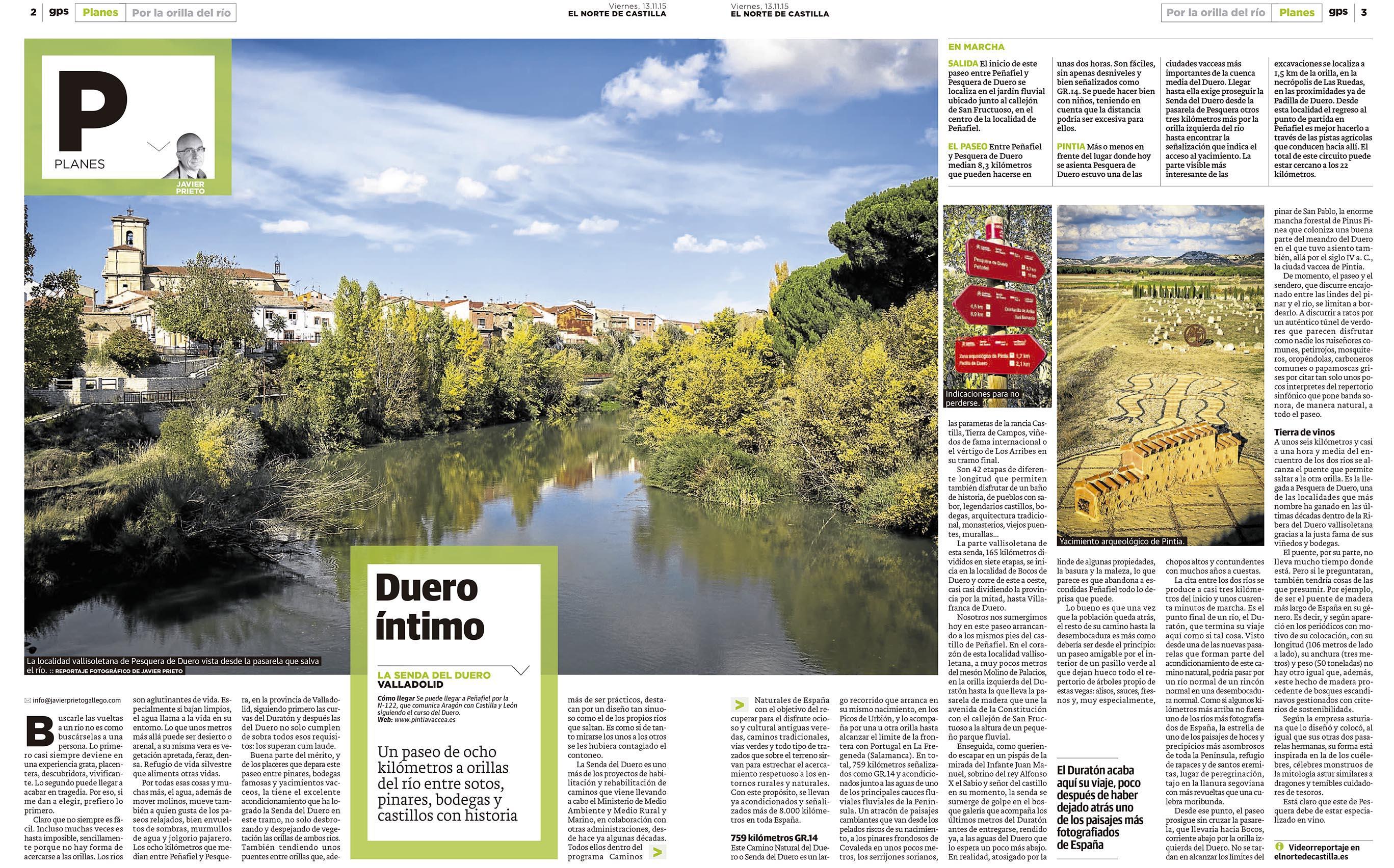 El GR14 entre Peñafiel y Pesquera de Duero. Reportaje publicado por Javier Prieto Gallego en el periódico EL NORTE DE CASTILLA.