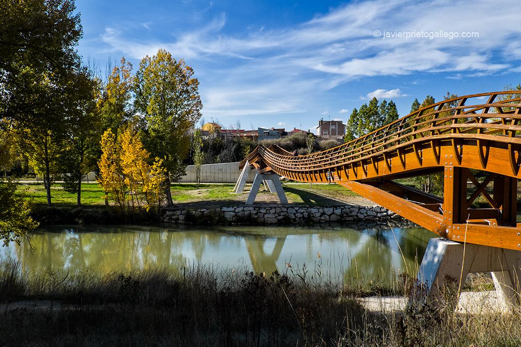 Pasarela sobre el río Duero frente a la localidad de Pesquera de Duero en el sendero GR.14. Ribera del Duero. Valladolid. Castilla y León. España © Javier Prieto Gallego;