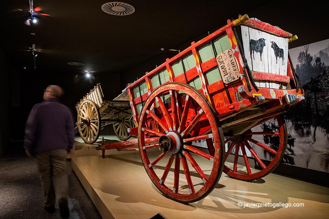 Carros en la sala dedicada al transporte del Museo Etnográfico Provincial de León. Mansilla de las Mulas. León. Castilla y León. España. © Javier Prieto Gallego