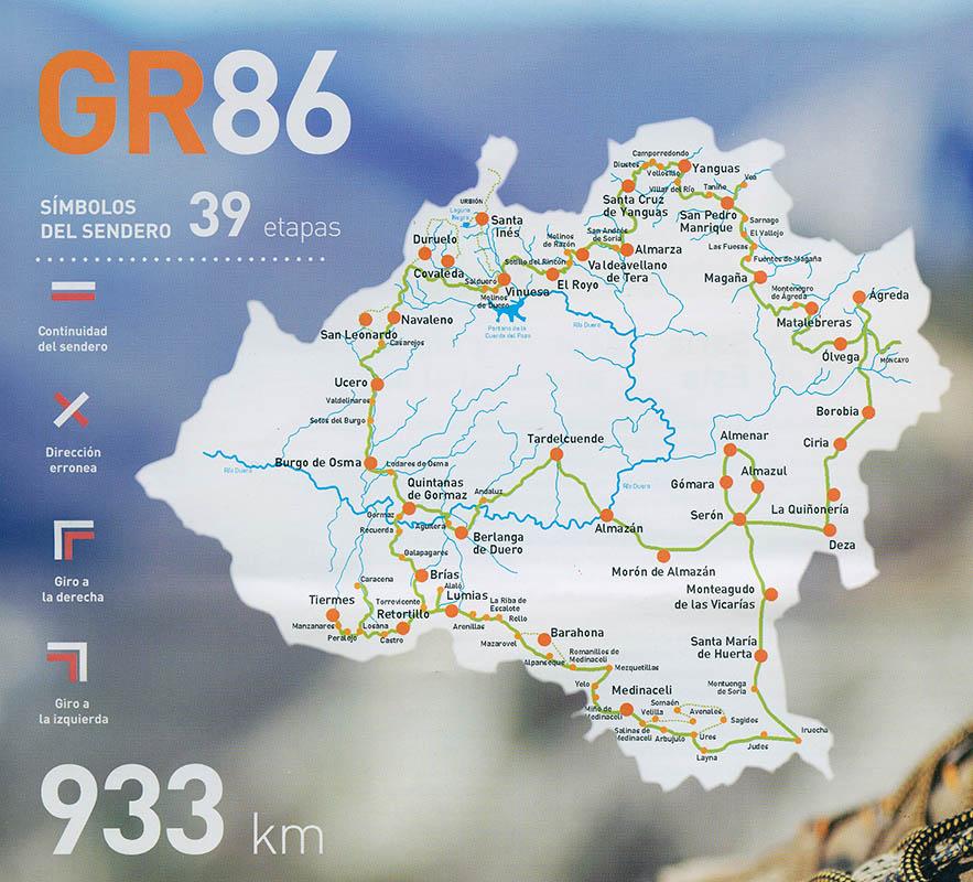 Mapa oficial del trazado del GR-86 por la provincia de Soria. Año 2016.