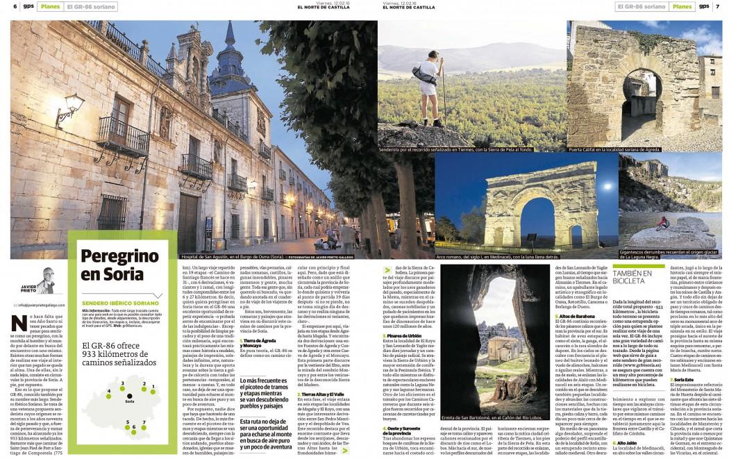 Reportaje sobre el GR-86 publicado por Javier Prieto Gallego en EL NORTE DE CASTILLA.