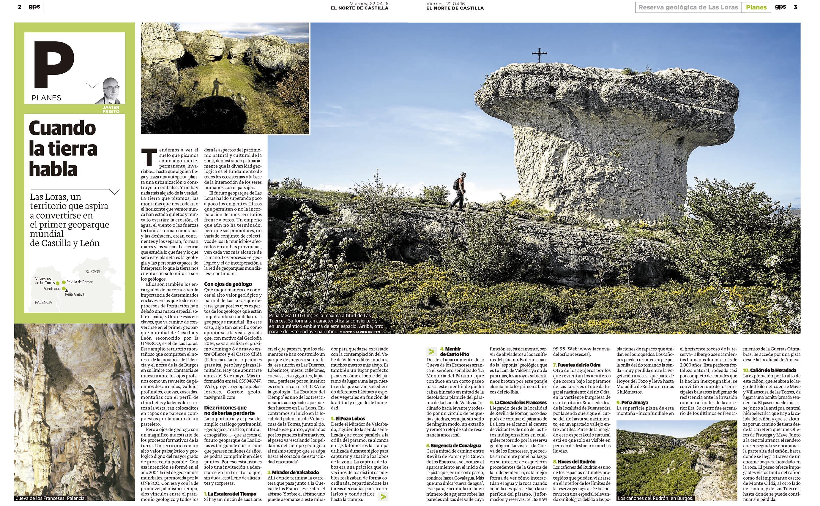 Reportaje de Javier Prieto Gallego sobre Las Loras publicado en EL NORTE DE CASTILLA.