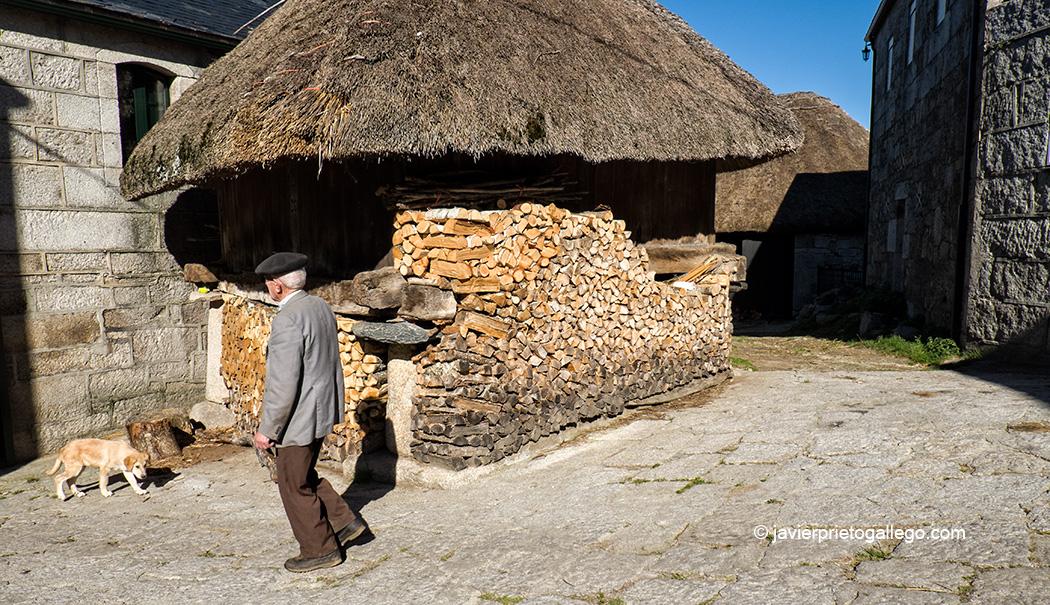 Horreo tradicional con teito y madera apilada en Piornedo de Ancares. Los Ancares. Lugo. Galicia. España © Javier Prieto Gallego;