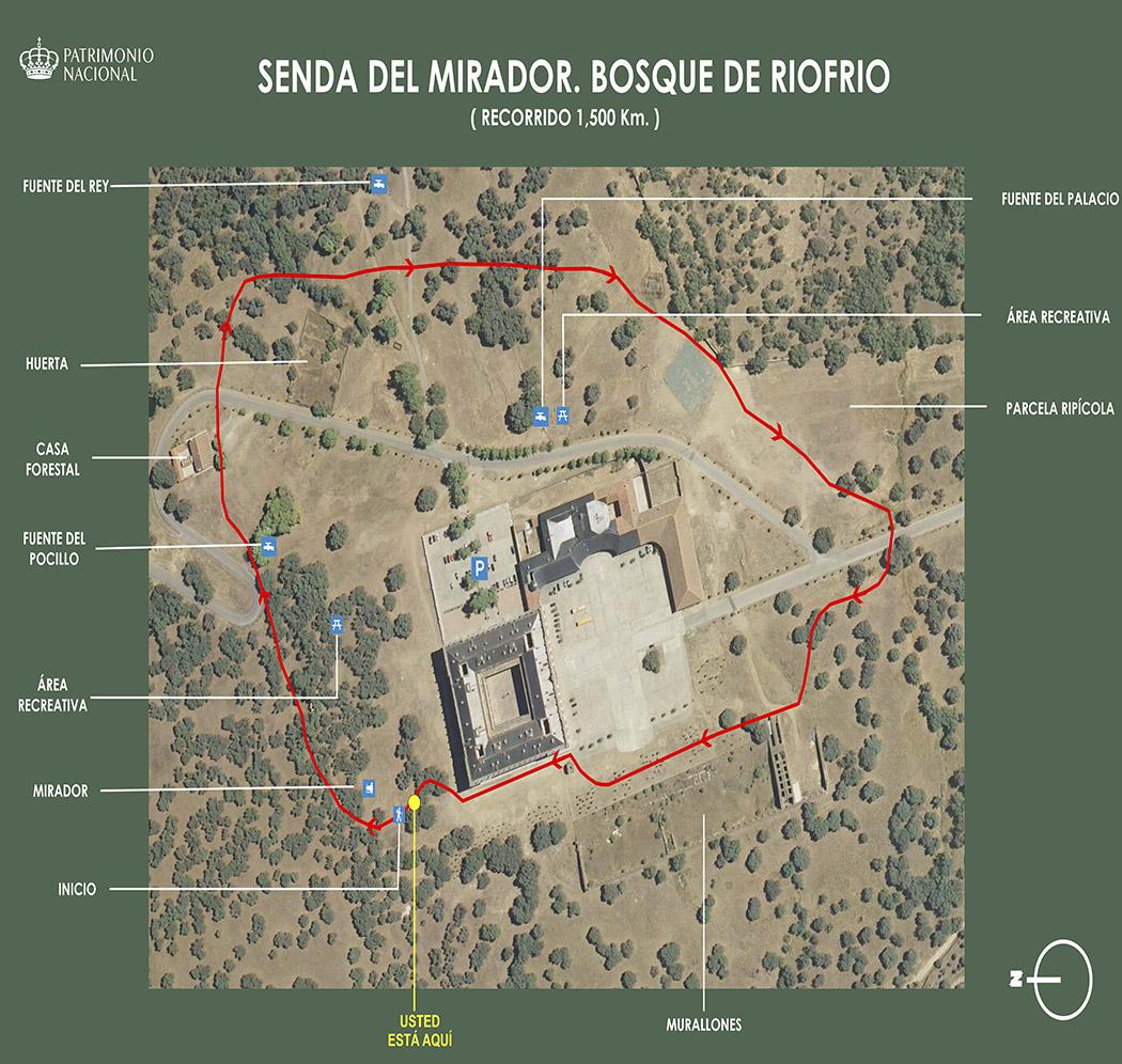 Plano de la senda del mirador. Palacio de Riofrío.