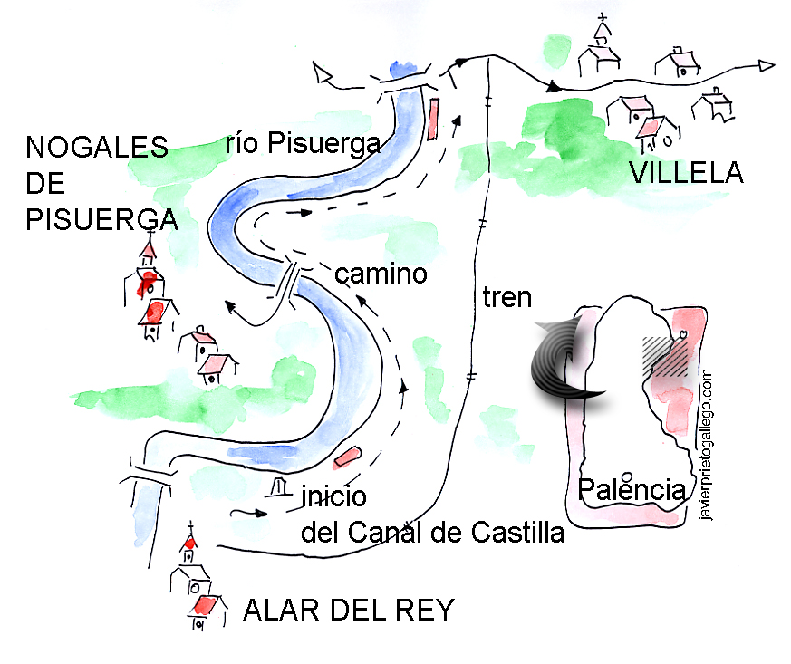Croquis del paseo en torno a la localidad palentina de Alar del Rey.