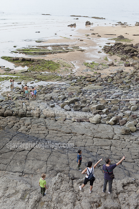 Visitantes entre las huellas de dinosaurios de la playa de La Griega. Asturias. España © Javier Prieto Gallego
