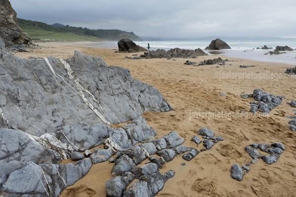 Yacimiento de icnitas en los afloramientos rocosos de la playa de Vega. Asturias. España © Javier Prieto Gallego