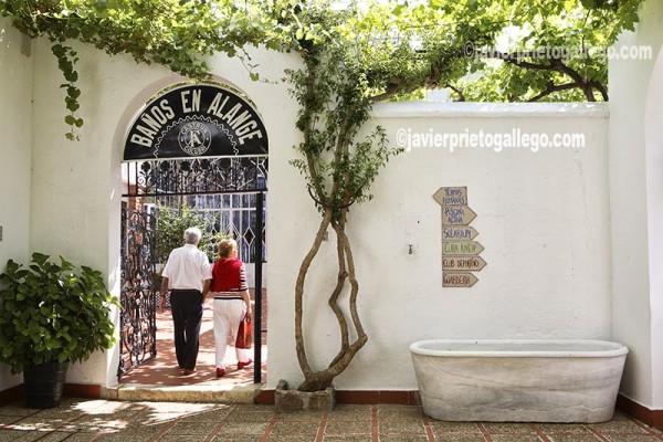 Entrada al balneario de Alange, en funcionamiento desde el siglo III a.C. Comarca de Tierra de Barros. Badajoz. Extremadura. España.