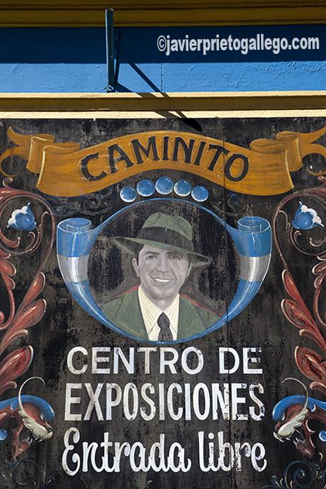 Cartel de un centro de exposiciones en la calle Caminito, en el barrio de La Boca, de Buenos Aires. Argentina © Javier Prieto Gallego