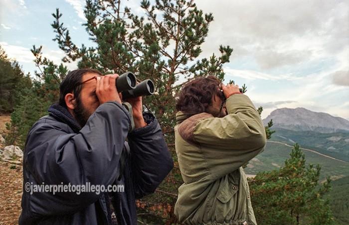 Dos aficionados observan con prismáticos el discurrir de la berrea en la Montaña Palentina. Palencia. Castilla y León. España.© Javier Prieto Gallego;
