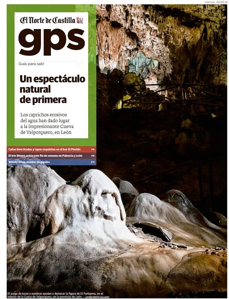 Reportaje sobre la Cueva de Valporquero publicado por Javier Prieto Gallego en el periódico EL NORTE DE CASTILLA.