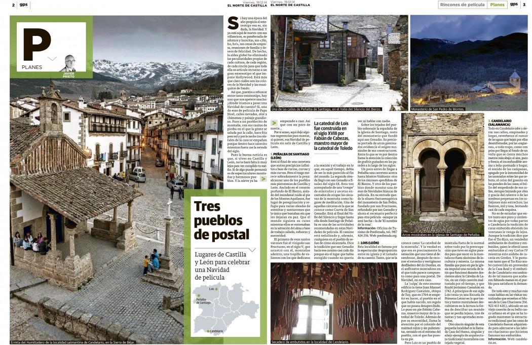 Tres pueblo de postal para una Navidad de película. Reportaje de Javier Prieto Gallego publicado en EL NORTE DE CASTILLA.