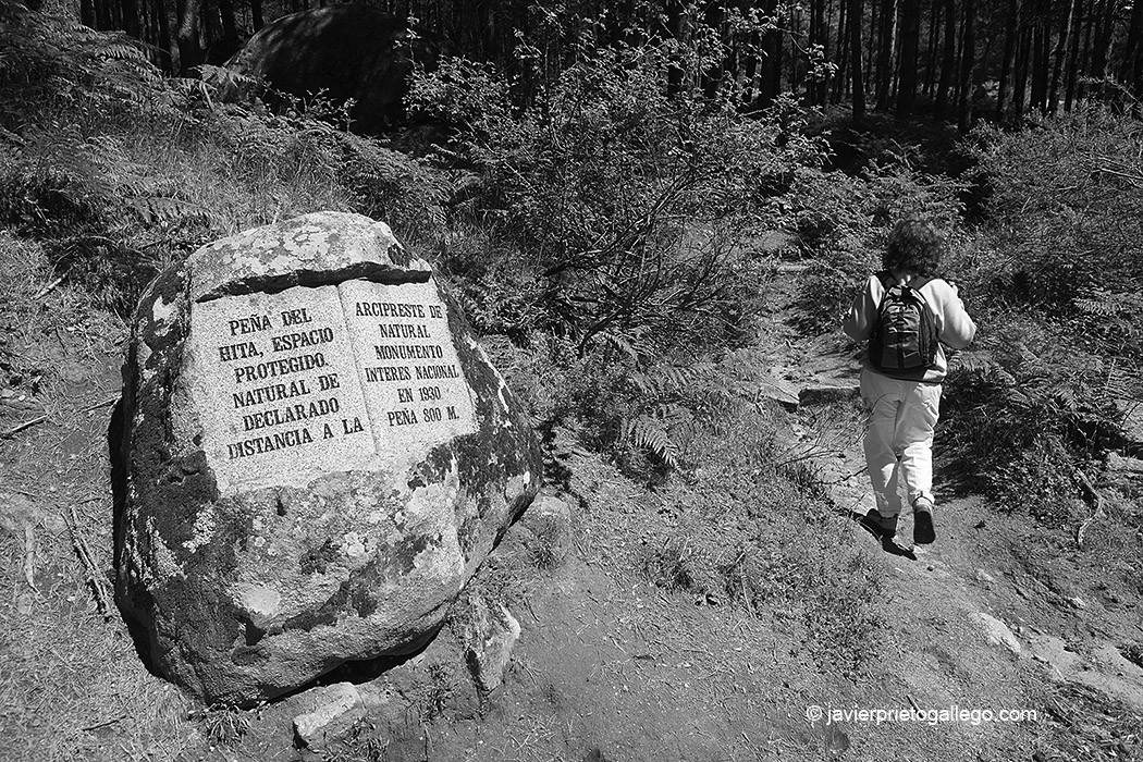 Indicación en el camino a la Peña del Arcipreste. Sierra de Guadarrama. Madrid. España © Javier Prieto Gallego