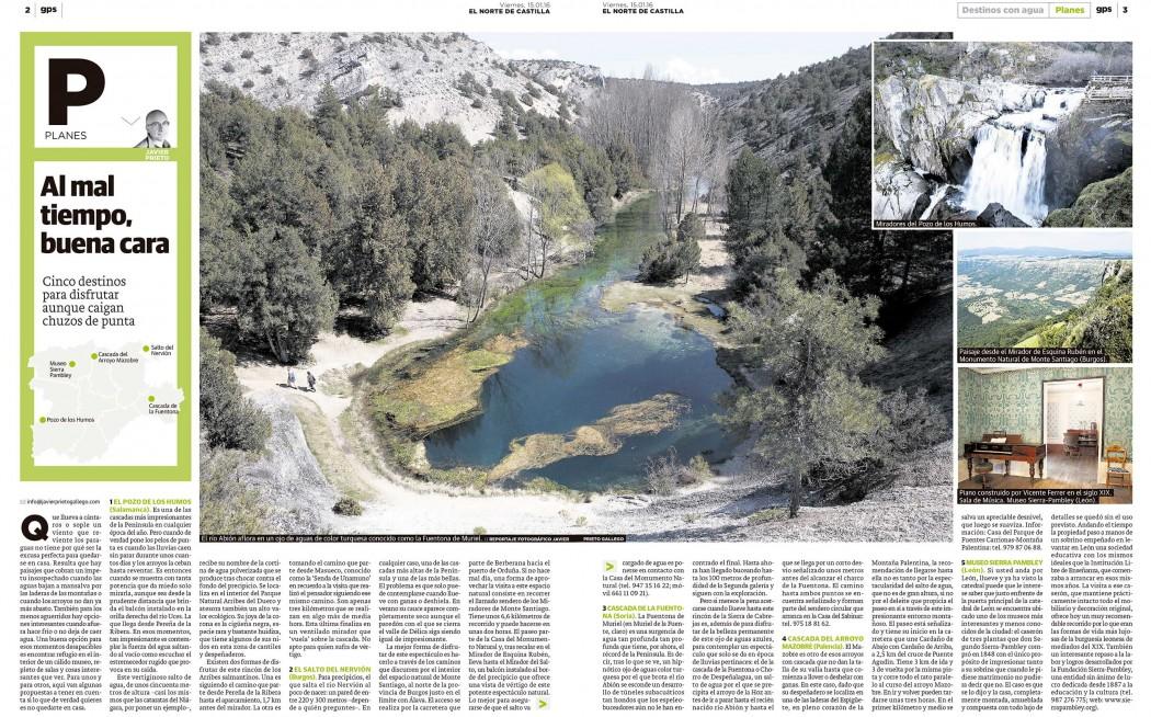 Reportaje: Lugares para disfrutar cuando hay agua publicado en EL NORTE DE CASTILLA por Javier Prieto Gallego.