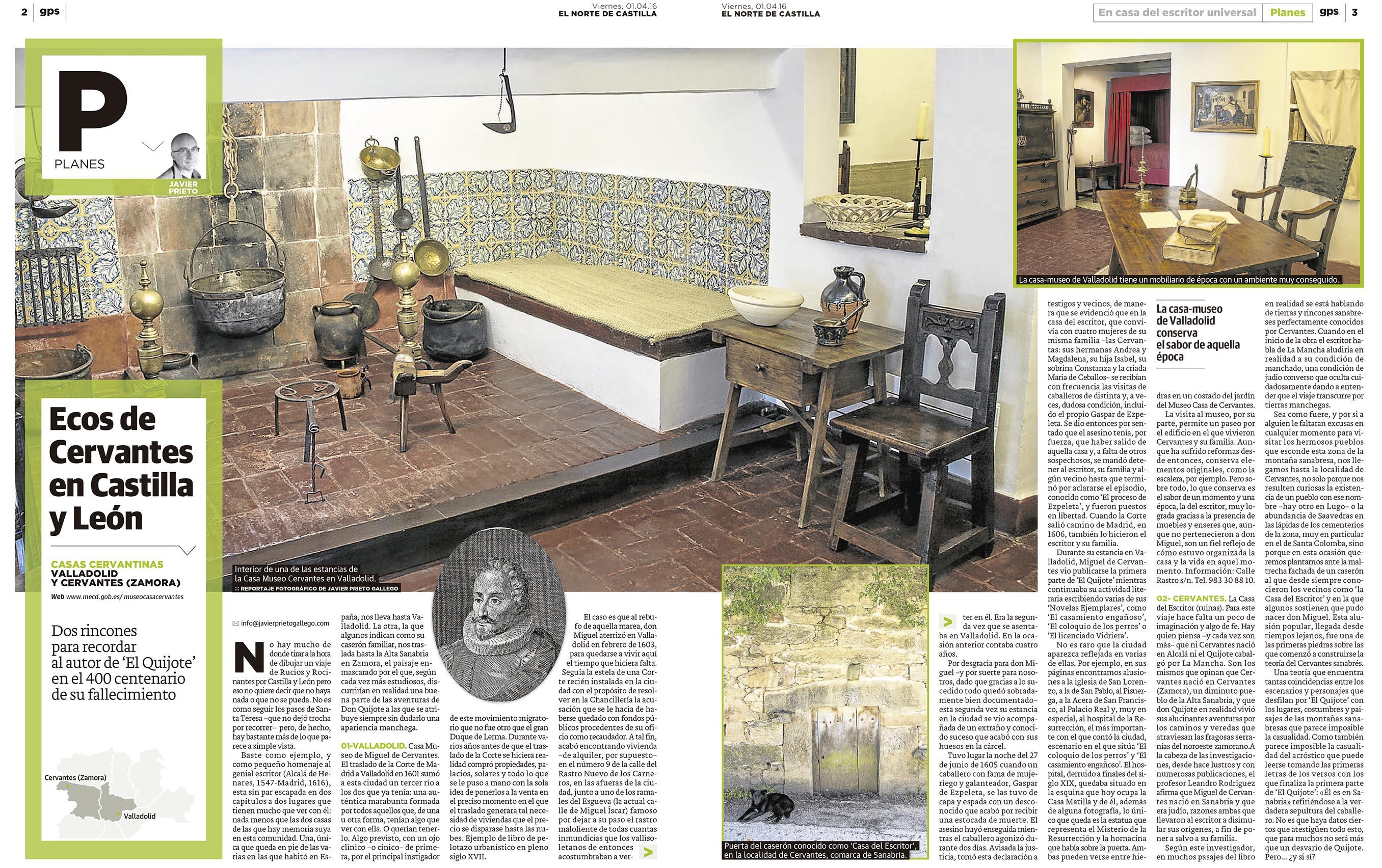 Cervantes en Castilla y León. Un reportaje de Javier Prieto Gallego en EL NORTE DE CASTILLA.