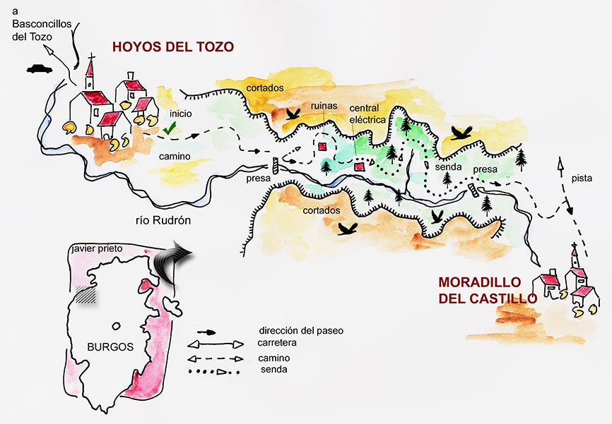 Croquis del paseo por el Cañón del Rudrón. Burgos. Castilla y León. España © Javier Prieto Gallego