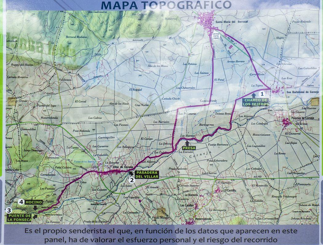 Mapa con información del sendero PRC-AV11. Río Corneja y Hocino. Valle del Corneja. Ávila. Castilla y León. España. © Javier Prieto Gallego