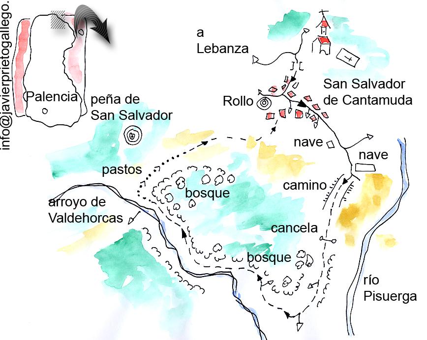 Croquis del paseo en torno a San Salvador de Cantamuda. © Javier Prieto Gallego